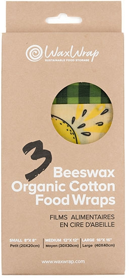 Health & Wellbeing Waxed Cotton Food wraps Set of 3